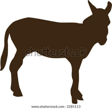 Donkey - fully editable vector drawing