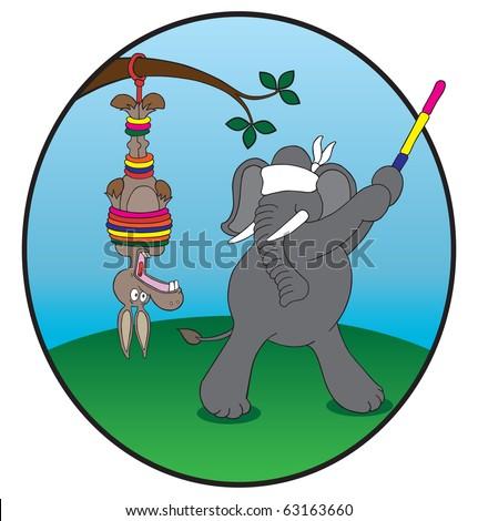 Donkey pinata. Democrat donkey being used as pinata by Republican elephant.