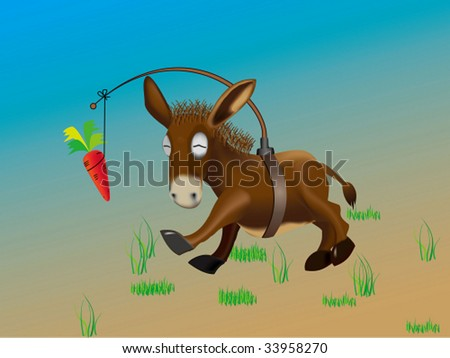 Donkey pursuing  the  carrot
