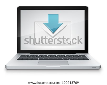 Donload Concept. Laptop on Grey Gradient Background. Vector.