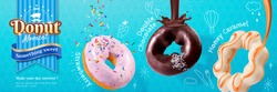 Donut banner ads with different flavours in 3d illustration