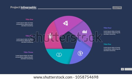 Donut chart with five sections. Infochart, swot analysis, slide template. Reference data concept. Can be used for presentations, layouts, reports