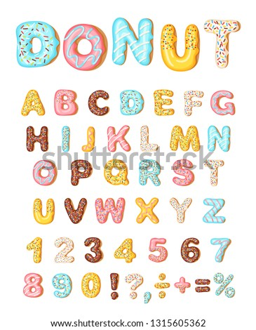 Donut icing latters, font of donuts. Bakery sweet alphabet. Letters and numbers with pink, yellow, blue donut. Donut alphabet and numbers, isolated on white background, vector illustration