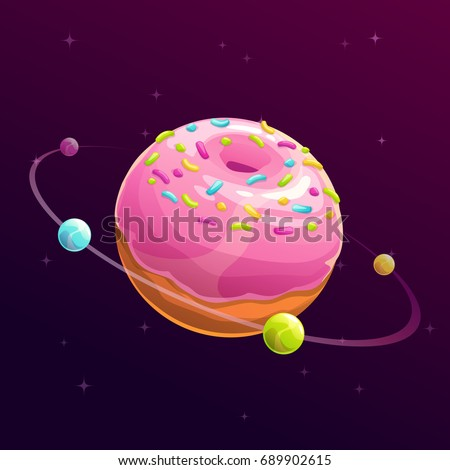 Donut planet. Fantasy space illustration. Food galaxy concept art.
