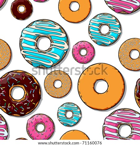 Donut seamles pattern. Vector