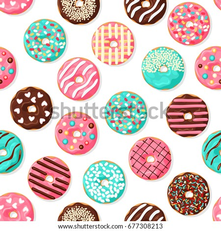 Donut seamless pattern. Pink, chocolate and blue mint donut with different topping on white background