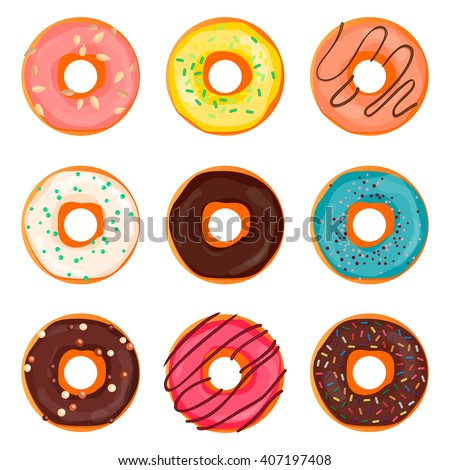Donut set with sprinkles isolated on white background. Doughnut ui, donuts app icons. Vector eps10