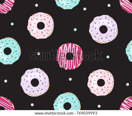 Donut vector illustration isolated on black background. Donut icon in a flat style. Seamless pattern, background, card, poster. Template for design.