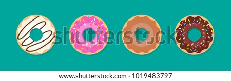 Donut vector set isolated on a green background. Donut collection. Sweet sugar icing donuts. break time with white chocolate, strawberry and chocolate donuts top view.