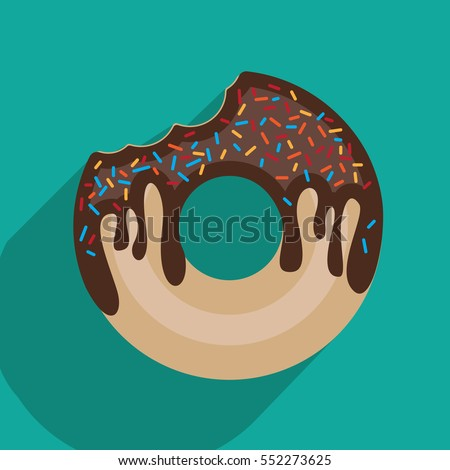 Donut with chocolate. Bitten donut. Vector illustration.