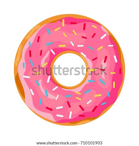 donut with pink glaze. donut icon, vector illustration in flat style