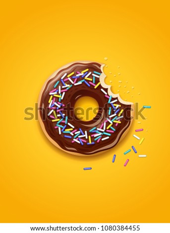 Donuts. American sweet dessert. Chocolate, glaze covered, fast-food sweets desserts. Traditional breakfast and lunch. Candy food. EPS10 vector illustration.