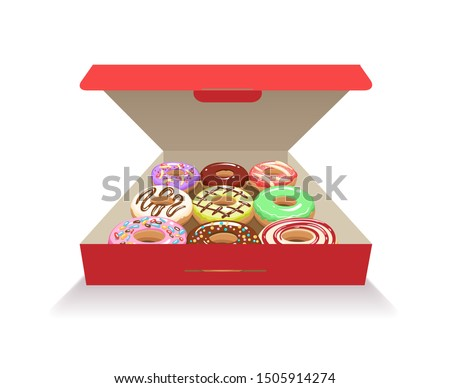 Donuts in box. Glazed doughnut in red cardboard box, vector sinkers or fritters, sugar glazing confectionery for gift