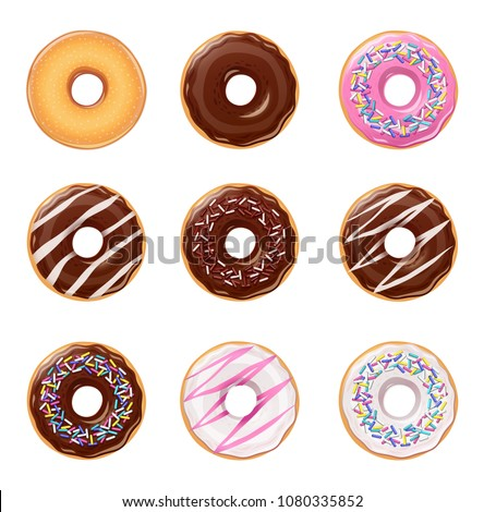 Donuts. Set of american sweet dessert. Chocolate, glaze covered, pink fast-food sweets desserts. Traditional breakfast and lunch. Candy food. Isolated white background. EPS10 vector illustration.