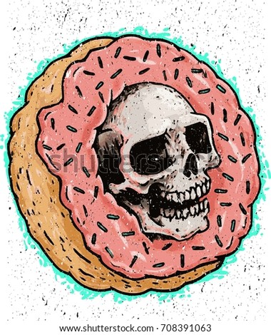 donuts skull with grunge