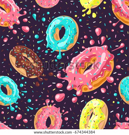 Donuts with pink, chocolate, lemon, blue mint glaze falling on dark background. Splashes of colored glaze and colored sprinkles. Seamless pattern