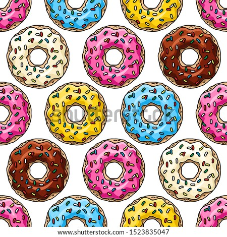 Donuts with pink, chocolate, lemon, blue mint glaze  on white background..  Seamless pattern. Texture for fabric, wrapping, wallpaper. Decorative print