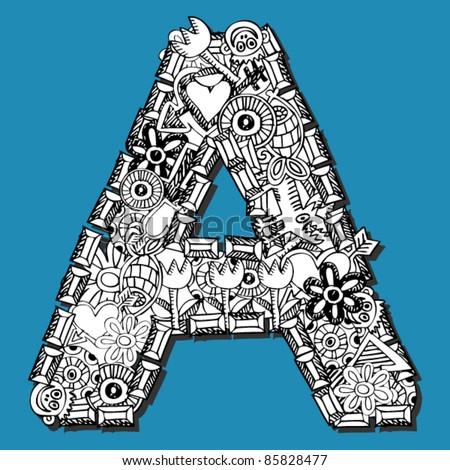doodle ABC, crazy letter A