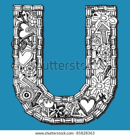 doodle ABC, crazy letter U
