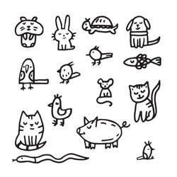 Doodle about veterinary and for pet shop. cat, dog, hamster, parrot, rabbit, pig, hare, fish, snake, mouse, rat, turtle
