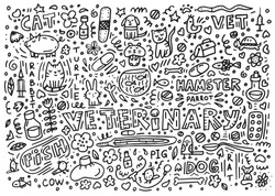 Doodle about veterinary. cat, dog, hamster, parrot, rabbit, pig, cow, hare, fish, medications, fonendoskop, syringes, thermometer, mouse, rat, turtle, plaster, aquarium, hot-water bottle