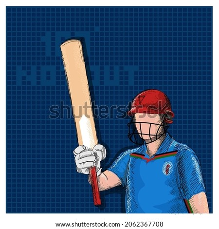 Doodle Afghanistan Cricket Batter Raising His Bat And 100 Not Out Font On Blue Grid Background.