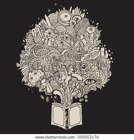 doodle and scribble book fantasy and knowledge sketch line black background
