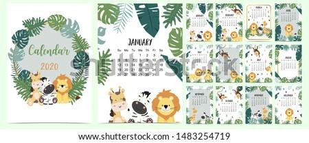 doodle animal calendar set 2020