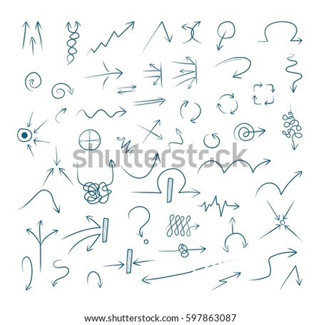 Doodle arrow icons set with spiral, square, circle and triangle directions, shapes #597863087