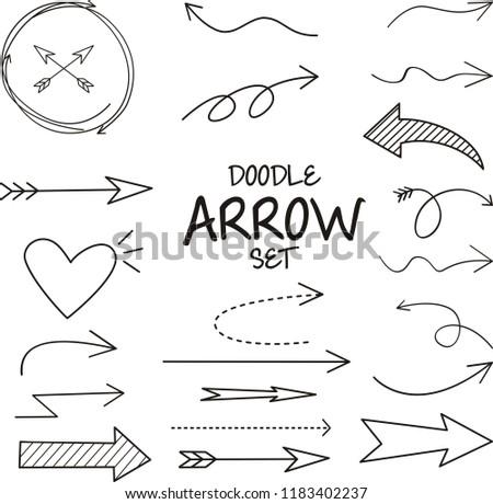Doodle arrow set , vector illustration #1183402237