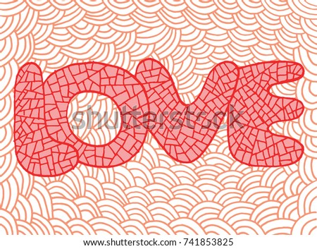 doodle art with love word hand