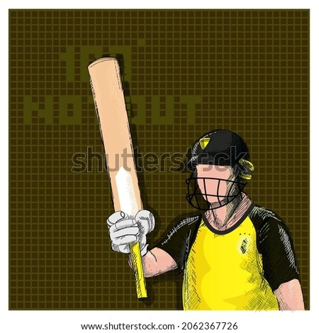 Doodle Australia Cricket Batter Raising His Bat And 100 Not Out Font On Brown Grid Background.