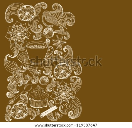 doodle background for tea time and place for text, vector