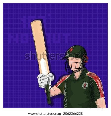Doodle Bangladesh Cricket Batter Raising His Bat And 100 Not Out Font On Violet Grid Background.