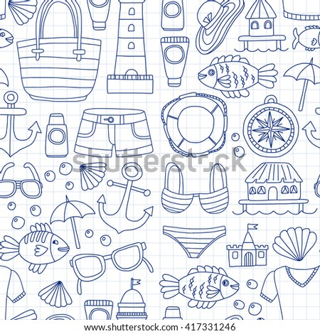 doodle beach and travel icons