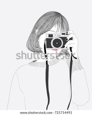 doodle beautiful woman drawing