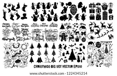 Doodle Big Set ,christmas element icons banner isolated background . EPS10 vector file organized in layers for easy editing.Hand Drawn Vector Illustration of Doodle, illustrator line tools drawing,