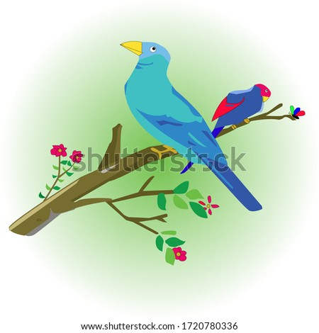 doodle bird perched on a branch