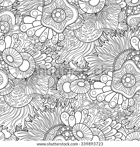 Doodle black and white abstract hand-drawn background. Wavy seamless pattern.