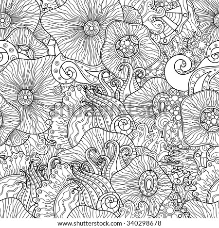 doodle black and white abstract
