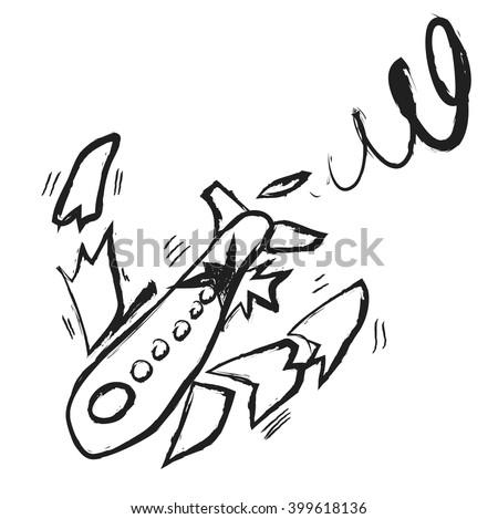 doodle broken plane  vector