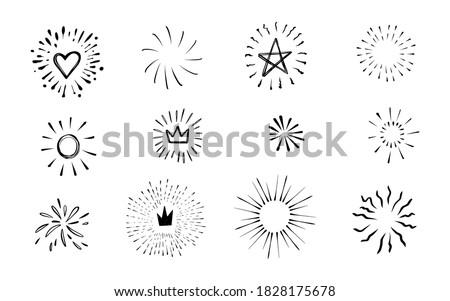 Doodle burst in vintage style on white background. Black vector hand drawn sketch illustration. Sun, starburst, sparkle, sunburst set. Line sparkle explosion. Marker handdrawn line. Retro spark shine Сток-фото ©