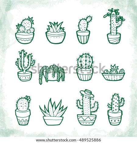 doodle cactus set hand drawn