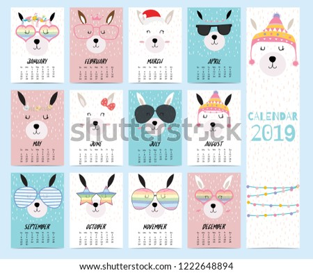 stock-vector-doodle-calendar-set-with-llama-christmas-glasses-heart-star-for-children-can-be-used-for