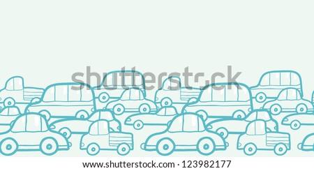 doodle cars horizontal seamless