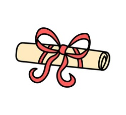 Doodle cartoon graduation diploma roll decorated with red ribbon bow, vector illustration isolated on white background. Sketchy certificate scroll.