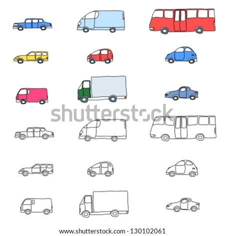 Doodle cartoon icon set - vehicle collection with cars, vans, trucks and a bus