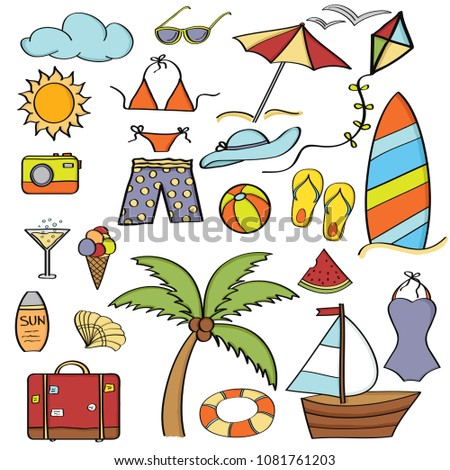Doodle cartoon items summer holiday collection  Vector