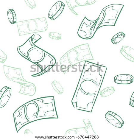 Doodle cash flow. Raining money seamless vector pattern. Falling sketch dollars background. Money finance coins and banknotes illustration