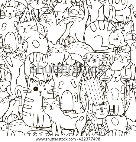 doodle cats seamless pattern